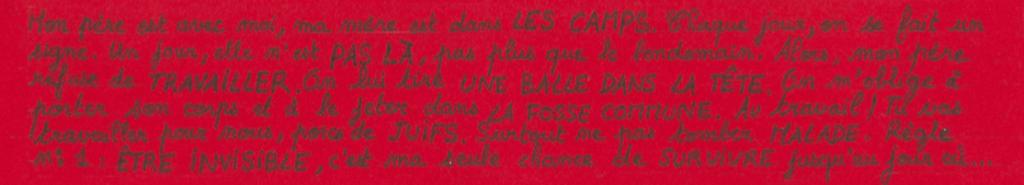 Exemple de marque-page réalisé par les élèves en Arts Plastiques, composé d'extraits de la pièce.